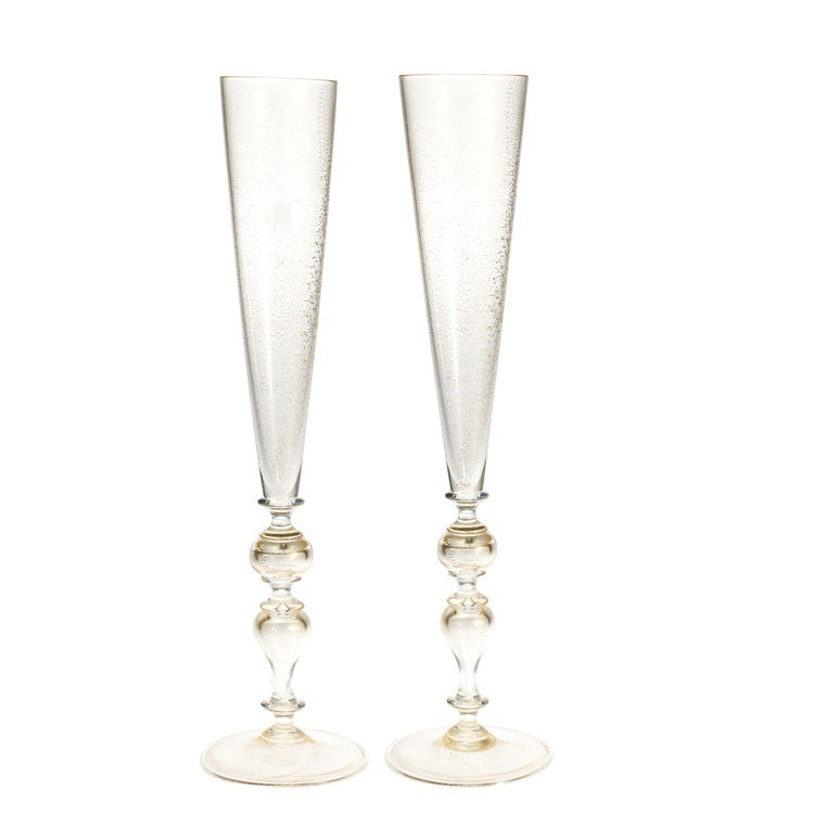 AURUM - luxurious pair of gold leaf flute glasses 2psc - Murano glass - Murano Glass