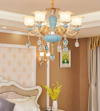 Load image into Gallery viewer, Blue Gold Crystal Chandelier with frosted glass lampshades- Murano Glass Art Style Chandelier