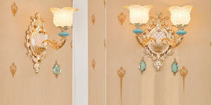 Blue Gold Crystal Chandelier with frosted glass lampshades- Murano Glass Art Style Chandelier