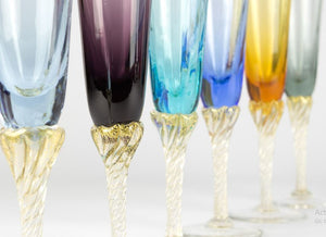 JOY - Champagne glass set 6psc - Murano glass - Murano Glass