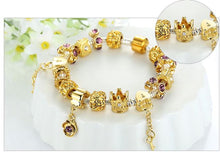 Load image into Gallery viewer, Crystal Bracelet with Gold Crown Charms - Murano Glass Art Style