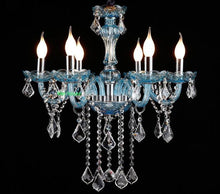 Load image into Gallery viewer, Brilliant Blue Clear crystal chandelier - Murano Glass Art Style