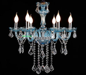 Brilliant Blue Clear crystal chandelier - Murano Glass Art Style