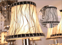 Load image into Gallery viewer, Elegant Smoke Gray Murano Glass Art Style Chandelier with Fabric lamp shades