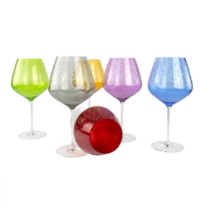 GRAN RESERVA - set of colourful wine glasses 6 psc - Murano glass - Murano Glass
