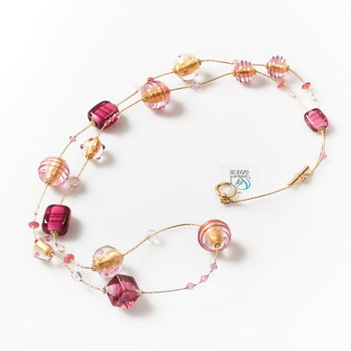 IDA - Necklace of gold and ruby details - Murano glass