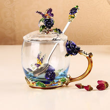 Load image into Gallery viewer, Elegant Tea/Coffee Cup with Enamel Roses- Murano Glass Art style