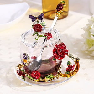 Elegant Tea/Coffee Cup with Enamel Roses- Murano Glass Art style