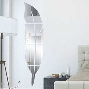 Decorative Mirrors - 3D Feather Mirror Wall Sticker - Home Decoration Home Decor
