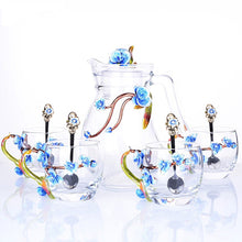 Load image into Gallery viewer, Elegant Crystal Glass Tea Coffee set with flowers- Murano Glass Art Style