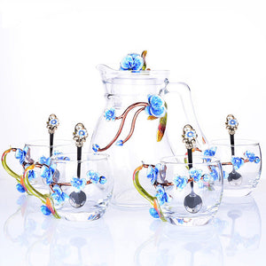 Elegant Crystal Glass Tea Coffee set with flowers- Murano Glass Art Style
