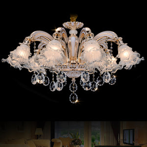 Luxurious Flower lamp shade Crystal Chandelier - Murano Glass Art Style