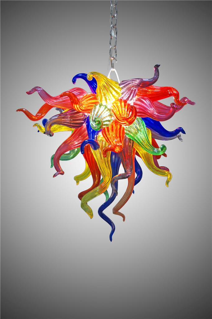 Coloured Modern Abstract Chandelier in Murano Glass Art Style