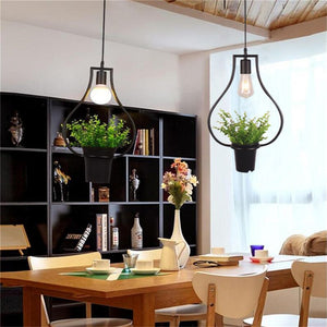 Green plants Chandelier - Hanging lamps Retro Nature style Creative Personality Chandelier Clothing shop Cafe Restaurant Li