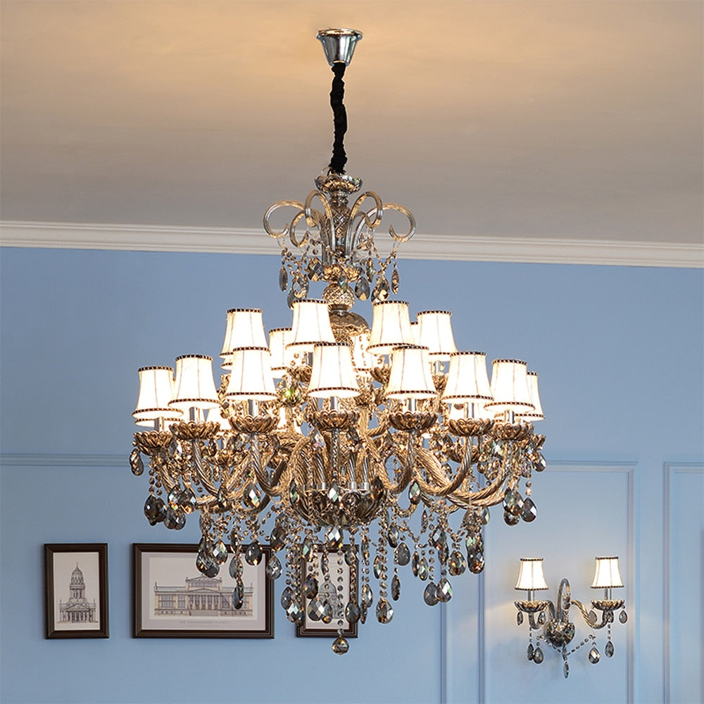 Elegant Smoke Gray Murano Glass Art Style Chandelier with Fabric lamp shades