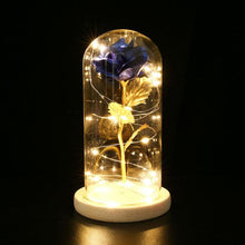 Load image into Gallery viewer, Gold Rose Glass Sculpture with Illuminating Lights - Murano Glass Art Style
