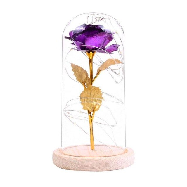 Gold Rose Glass Sculpture with Illuminating Lights - Murano Glass Art Style