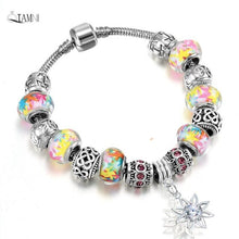 Load image into Gallery viewer, Elegant Colourful Crystal Charm Bracelet - Murano Glass Art Style