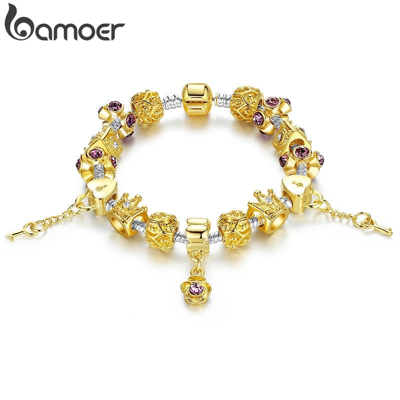 Crystal Bracelet with Gold Crown Charms - Murano Glass Art Style