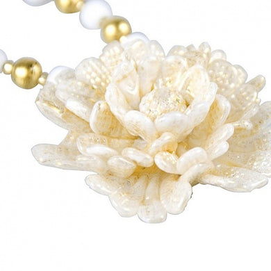 ROSIE - White and gold Rose necklace of Murano glass