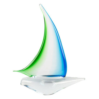 CYAN and GREEN - Sailing Boat sculpture of Murano glass - Murano Glass