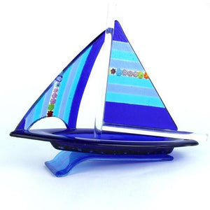 BLUE - Sailing boat Murano glass sculpture - Murano Glass