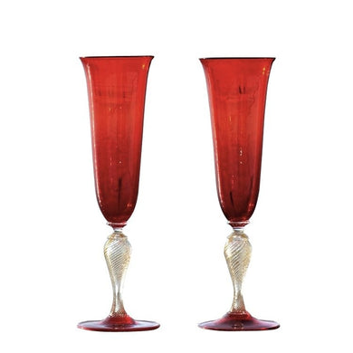 SUAVIS Venetian Red flute glasses of Murano glass - Murano Glass
