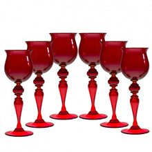 Load image into Gallery viewer, SUMMERTIME set of medium Red drinking glasses - Murano glass - Murano Glass