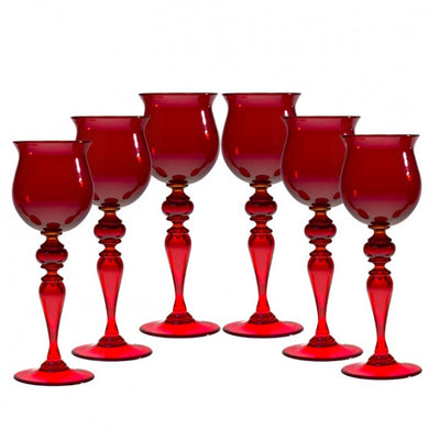 SUMMERTIME set of medium Red drinking glasses - Murano glass - Murano Glass
