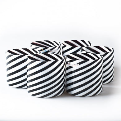 TAILLEUR Set of black and white striped glasses - Murano glass - Murano Glass