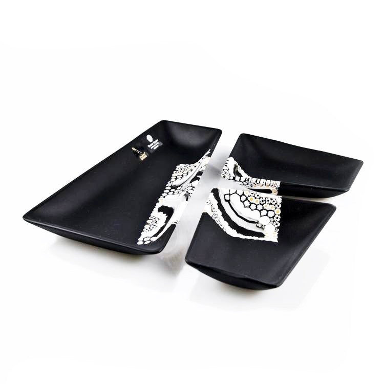 TANGRAM modern black Murano glass plates set - Murano Glass