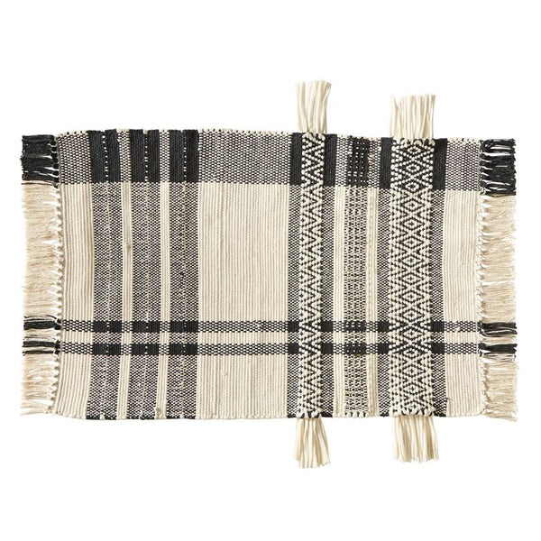 Ivory + Black Checkered Rug