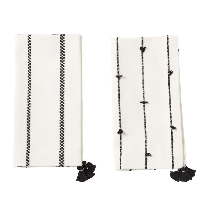 Black + White Tassel Dinner Napkins (Set of 4)