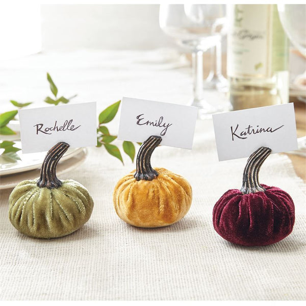 Velvet Pumpkin Place Card Holders
