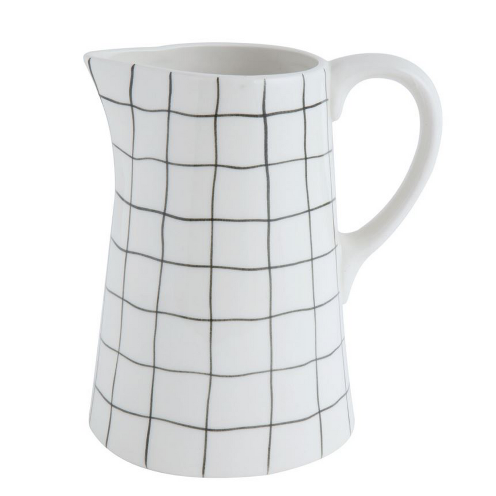 White Stoneware Pitcher with Black Grid
