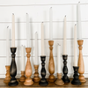 "11"" Black Wooden Taper Candlesticks"