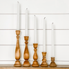 "7"" Wooden Taper Candlestick"