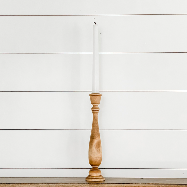"11"" Wooden Taper Candlestick"
