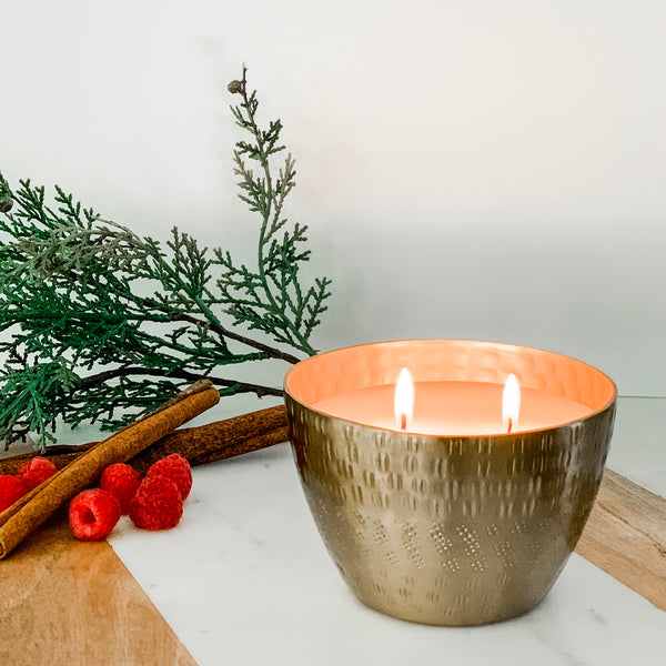 Merry Candle in Gold Etched Bowl