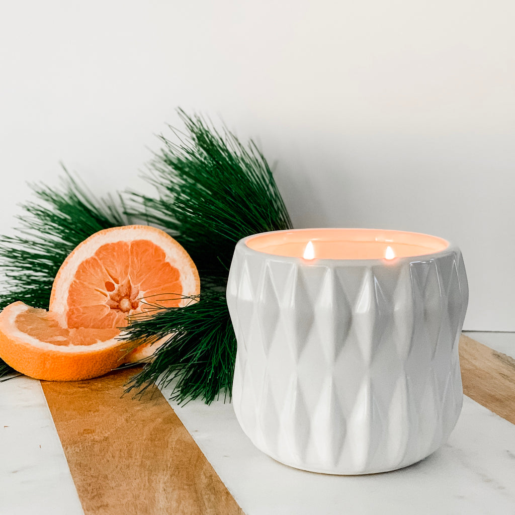 Radiant Candle In Matte White Planter