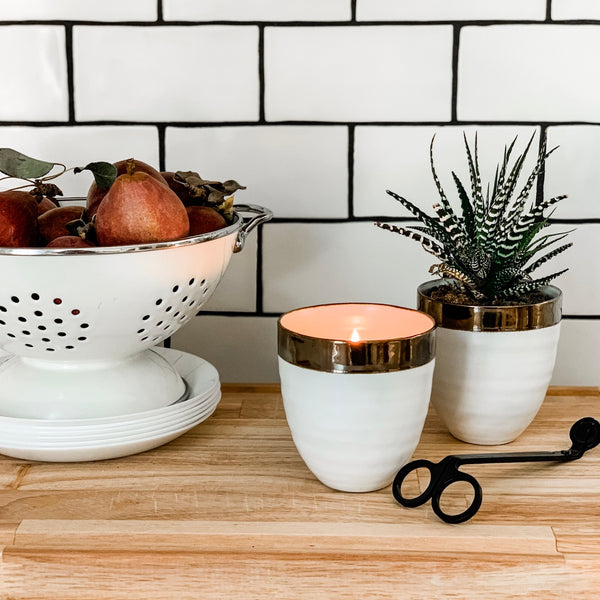 White + Copper Cozy Candle