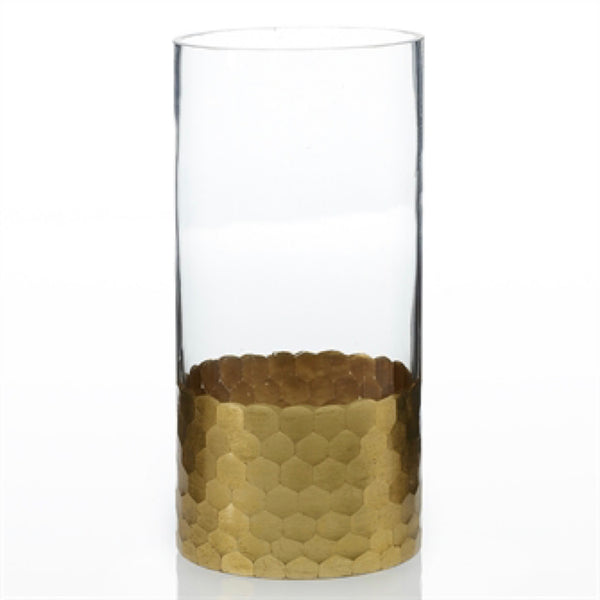 Tall Gold Faceted Vase