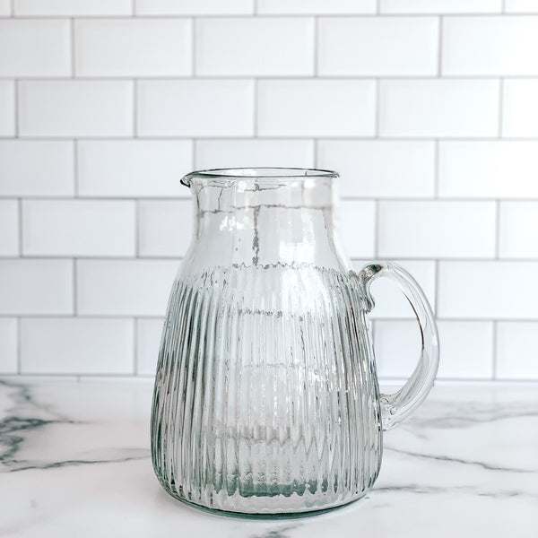 Fluted Glass Pitcher