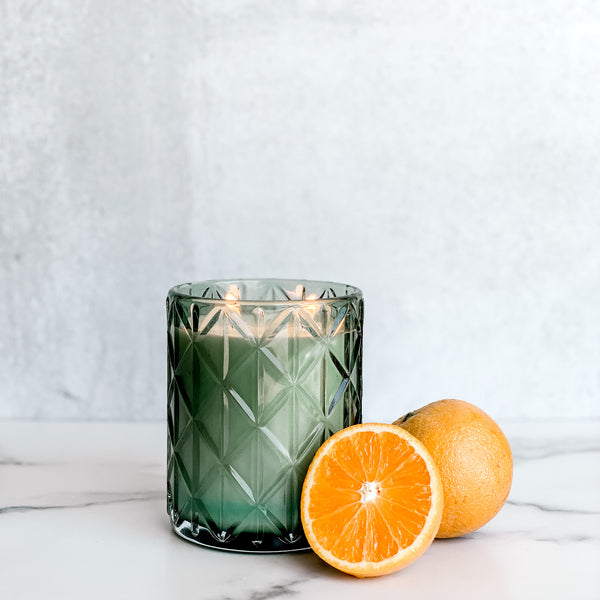 Happy Vintage Green Glass Candle