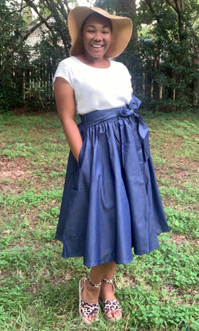 justskirtz skirts modest affordable flare denim blue jean pockets
