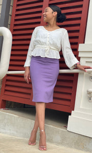 """Kelsey"" Pencil Skirt- Lilac (Heavy Ponte - Plus Sizes Available)"