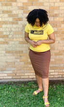 """Kelsey"" Pencil Skirt- Light Brown (Plus Size Only)"