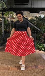"""Amy"" A-Line Skirt- Red (Plus Size Available)"
