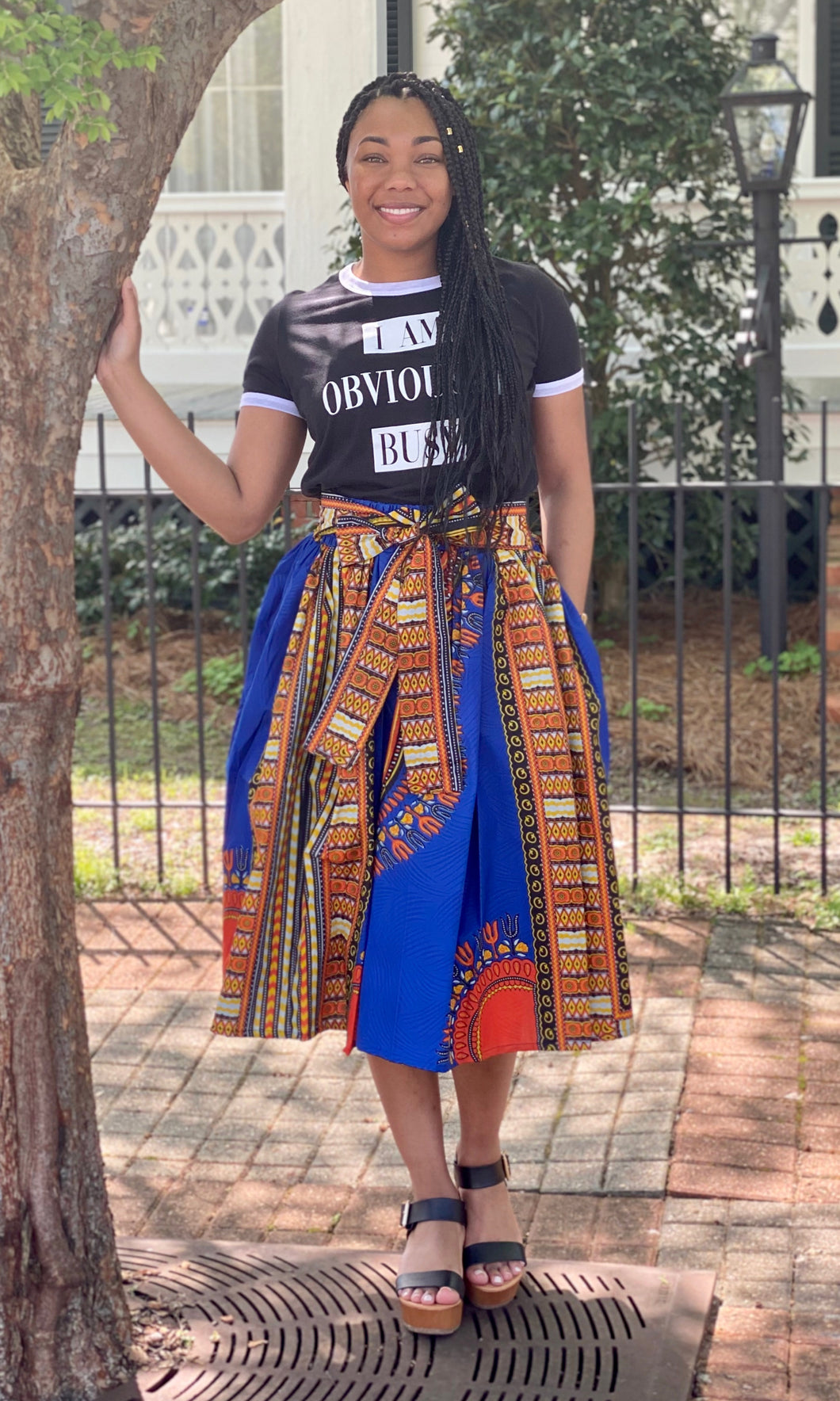 """Mariah"" African Flare Skirt with Pockets"