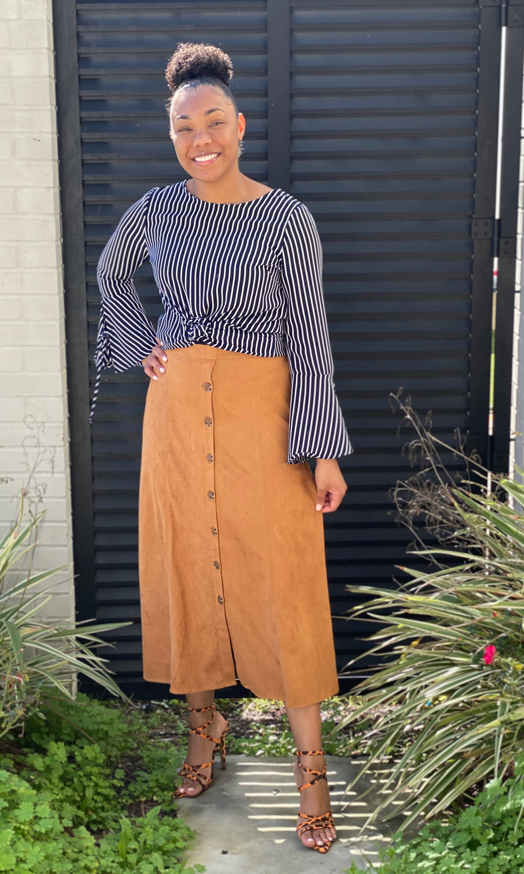 Maddison Suede Midi Skirt with Buttons